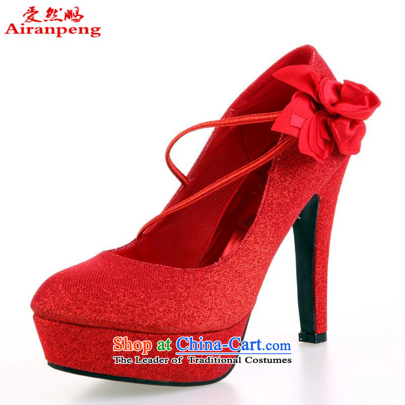 Shoes marriage shoes red shoes marriage shoes bride shoes large red marriage shoes high heels HX08 red聽35 11.5 cm high code