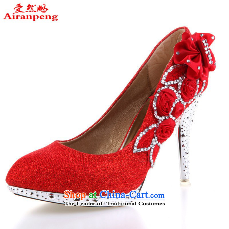 2015 Red Gold silver wedding shoes bridal shoes wedding shoes high heels HX088 Red 37