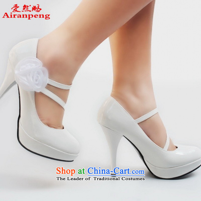 New Princess marriage shoes 230 with high rise red dress shoes waterproof varnished leather shoes white�38 Marriage