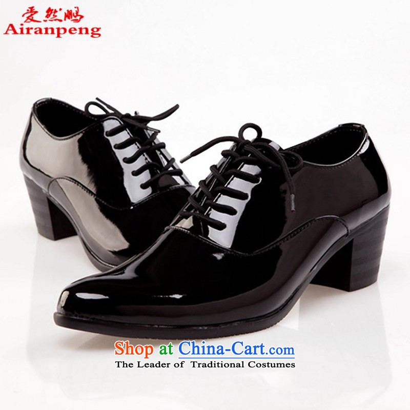 Pure White men's shoes single Leather Shoes Show shoes chorus of the shoe dancing shoes Tie Shoe black shoes increased 42