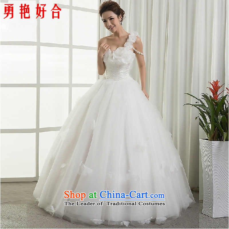 Yong-yeon and wedding dresses 2015 New Princess sweet shoulder to align the wedding flower petals Beveled Shoulder bride wedding white made no refunds or exchanges Size