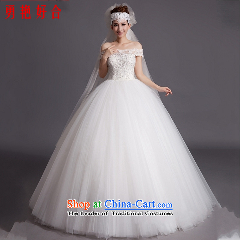 Yong-yeon and bride 2015 wedding dresses new Korean word shoulder trendy code to align the retro pregnant women hand-made white wedding size not refunded