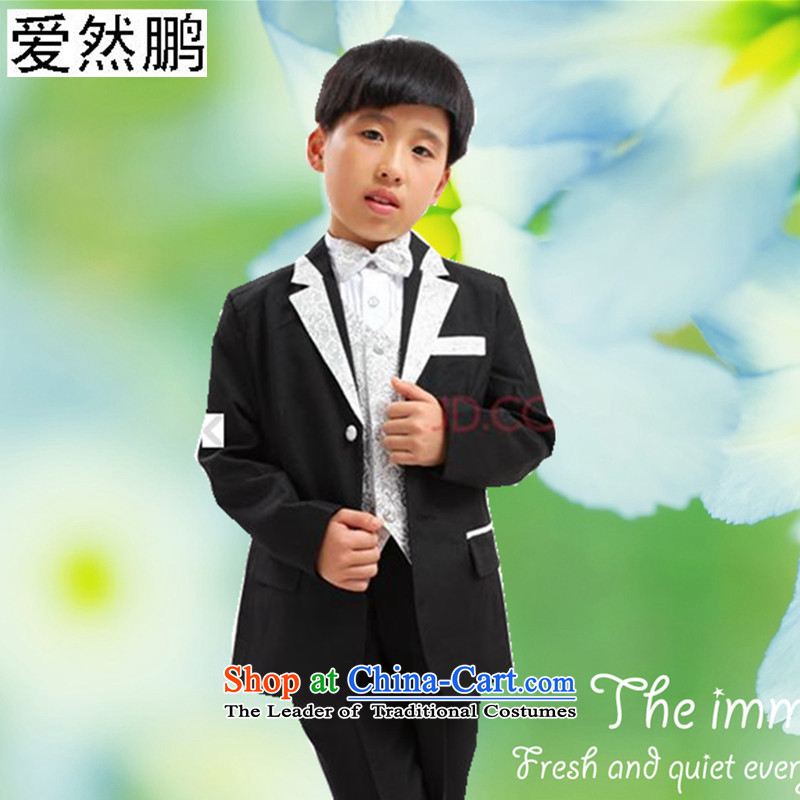 Children's Wear Flower Girls Boys children suit dress boys dress suits black and silver?140