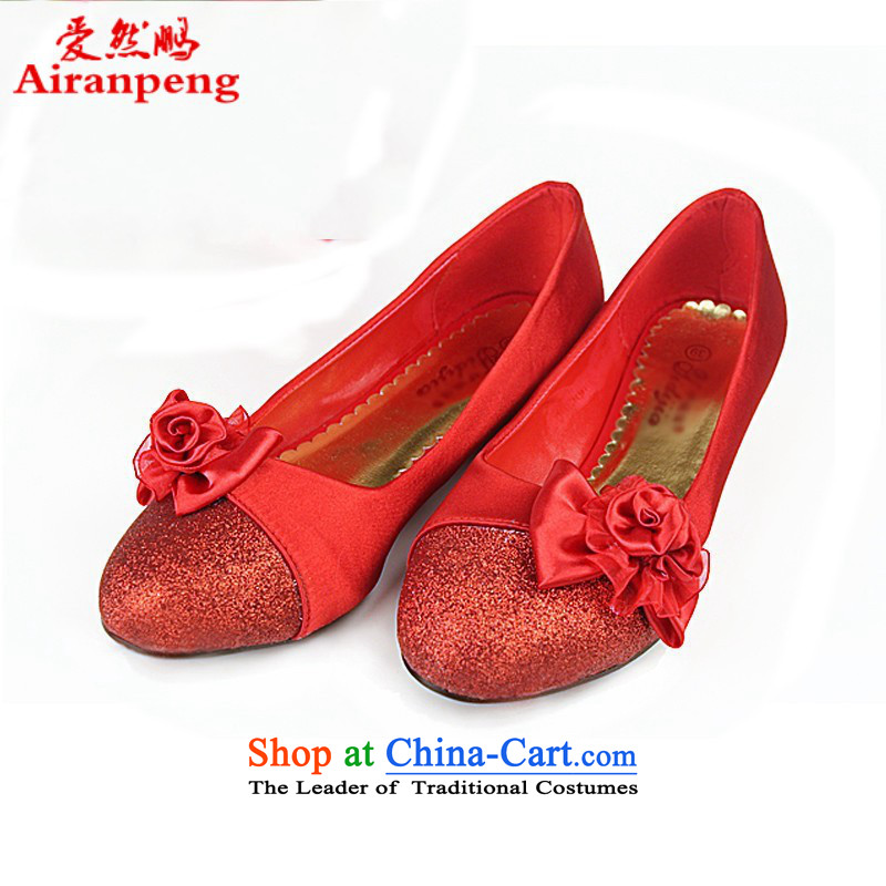 The Korean version of marriage flat bottom marriage shoes red shoes marriage shoes wedding shoes heel shoe qipao shoes low larger single shoe red聽39 pregnant women
