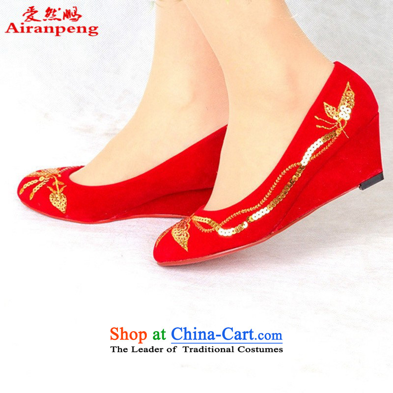 The bride marriage shoes marriage shoes qipao shoes red shoes bride shoes 99810 marriage Red聽39