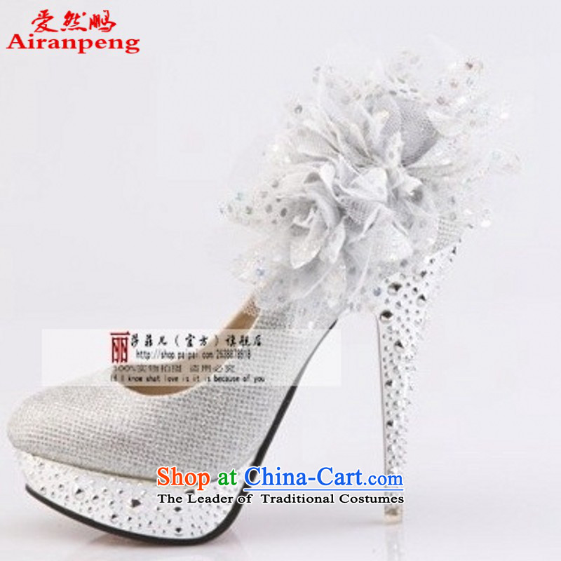 2014 new women's shoe the the high-heel shoes red marriage bride marriage shoes for larger marriage shoes crystal shoes, silver聽38 1389