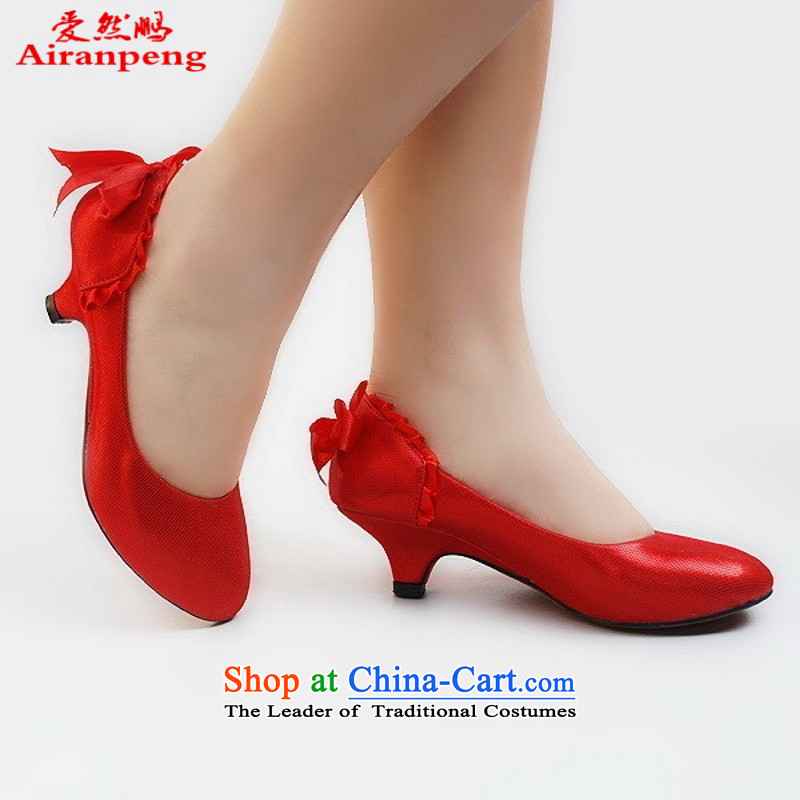 The new marriage 201 limited 88-shoes bride shoes Gold _ Red low with marriage shoes Red?37