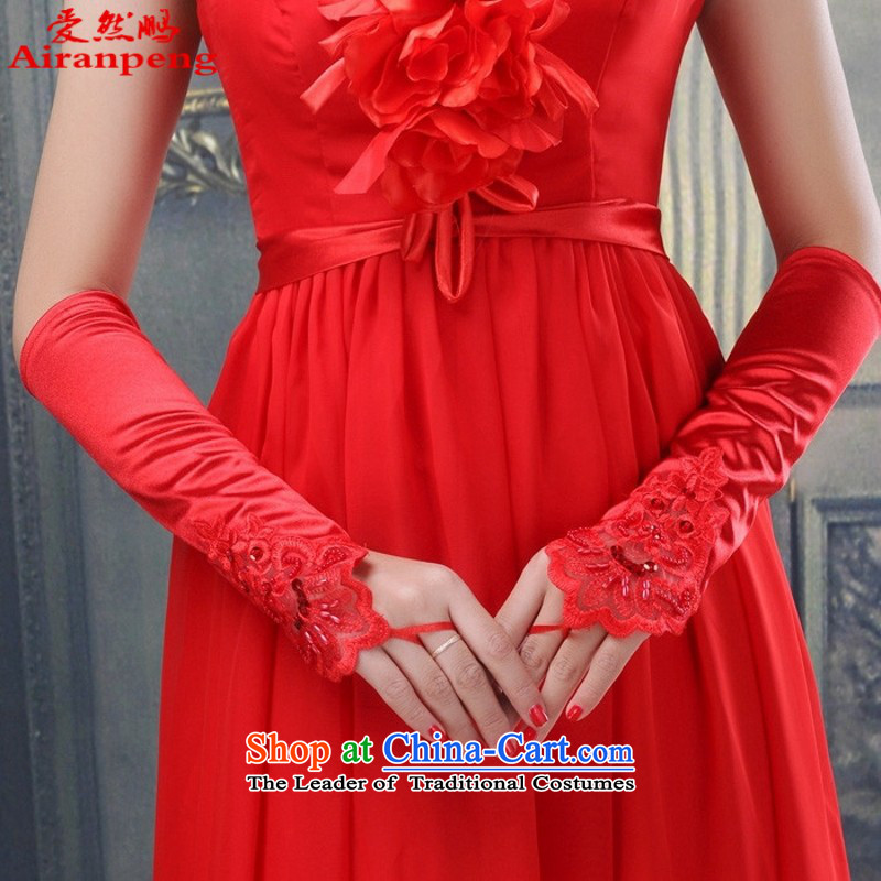 Wedding dresses of the brides gloves are Satin glove brides means gloves ST10 staple pearl gloves red