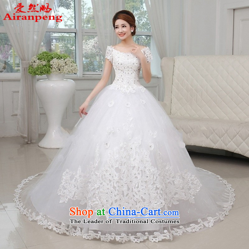 Love So Peng New 2015 princess slotted shoulder wedding dresses tail Korean water drilling thin snap to bind the video with a large number of large trailing�M package returning