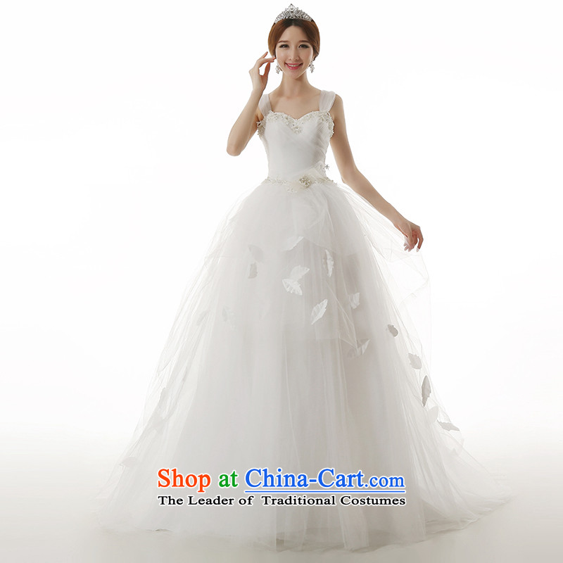 Clean the聽new 2015 Castores Magi slotted shoulder dream trendy tail wedding Korean Sau San shoulders bon bon skirt long tail wedding dresses tail 100CM L