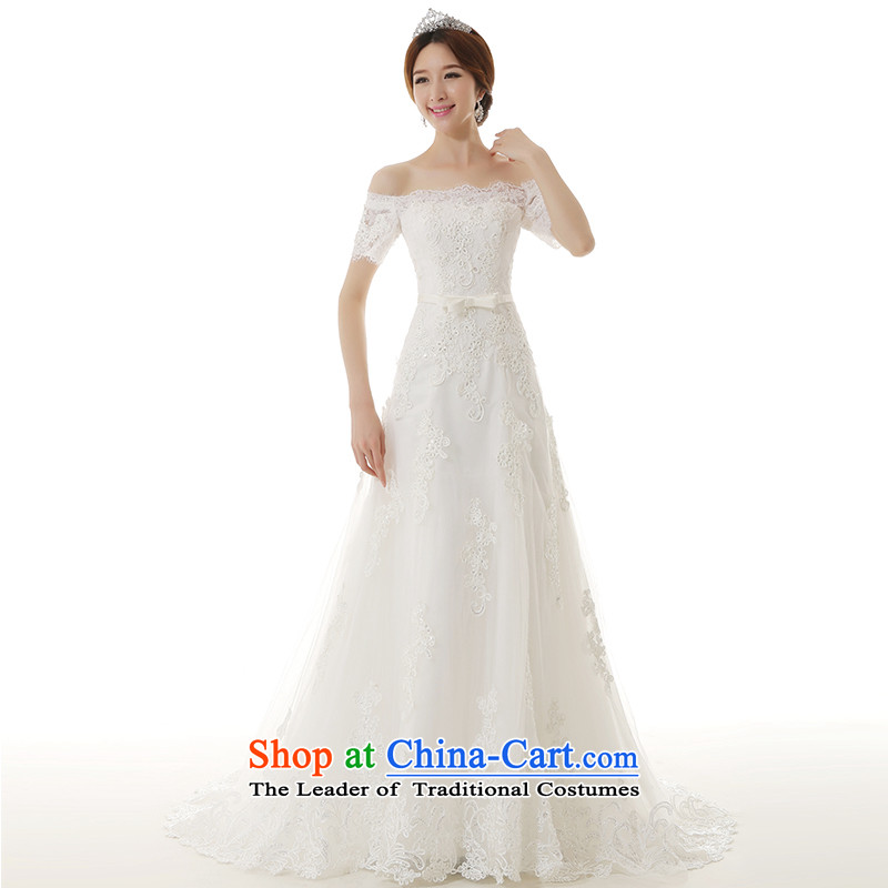 2015 Autumn and winter new one field for a crowsfoot shoulder wedding dress Korean style with simple Sau San A skirt as small trailing bride wedding white�S