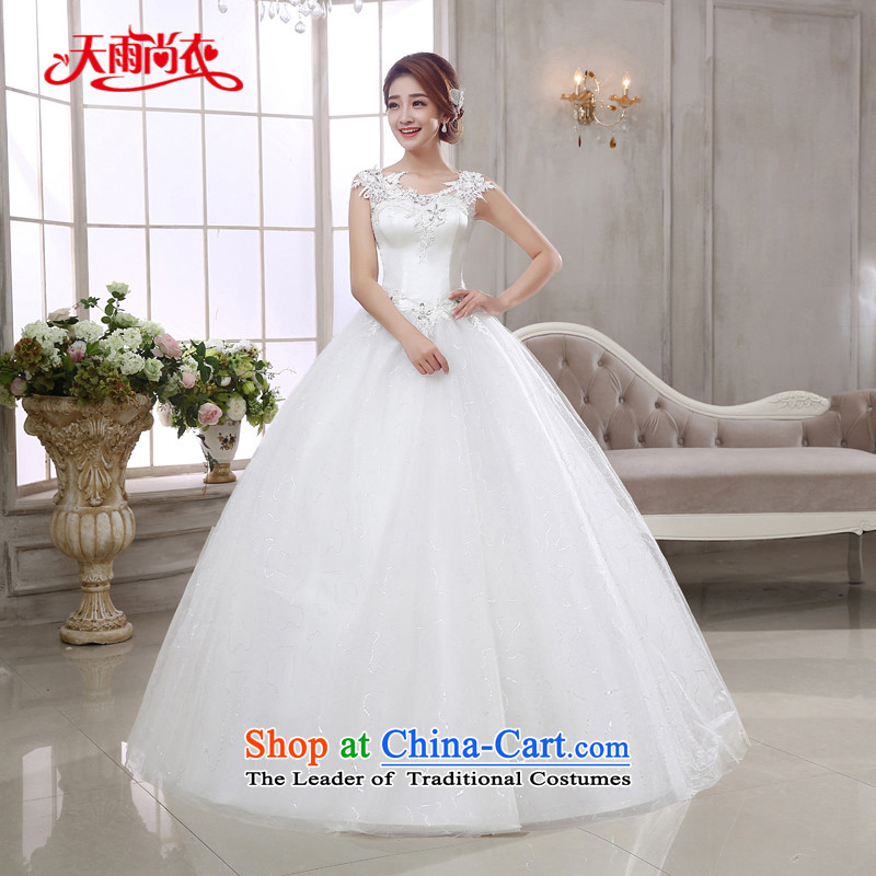 Rain-sang yi 2015 marriages new bride wedding dresses Korean straps princess lace water drilling shoulders to align the wedding HS925 white Suzhou shipment?XL