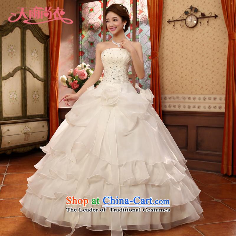 Rain-sang yi?2015 new bride beautifully dress romantic flowers diamond wedding band wedding HS835 white?L