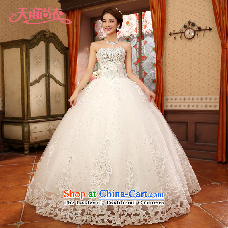Rain-sang yi wedding dresses 2015 new products marriages princess heart-shaped wiping the chest straps HS933 White?XL