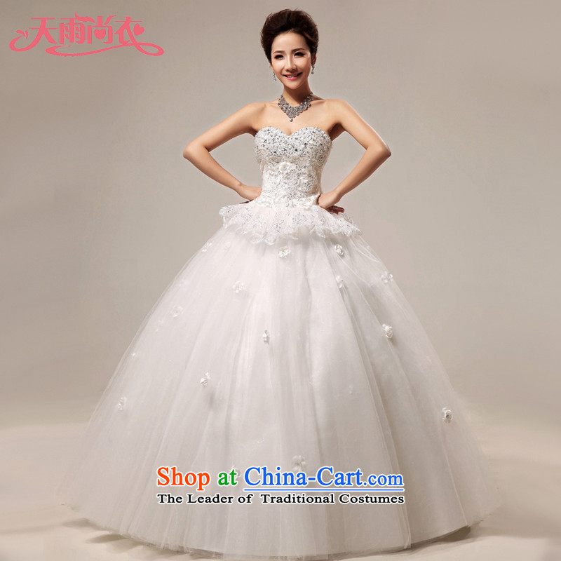 Rain-sang yi�2015 new wedding dresses Korean luxury water drilling and chest straps marriages princess skirt HS912 White�M