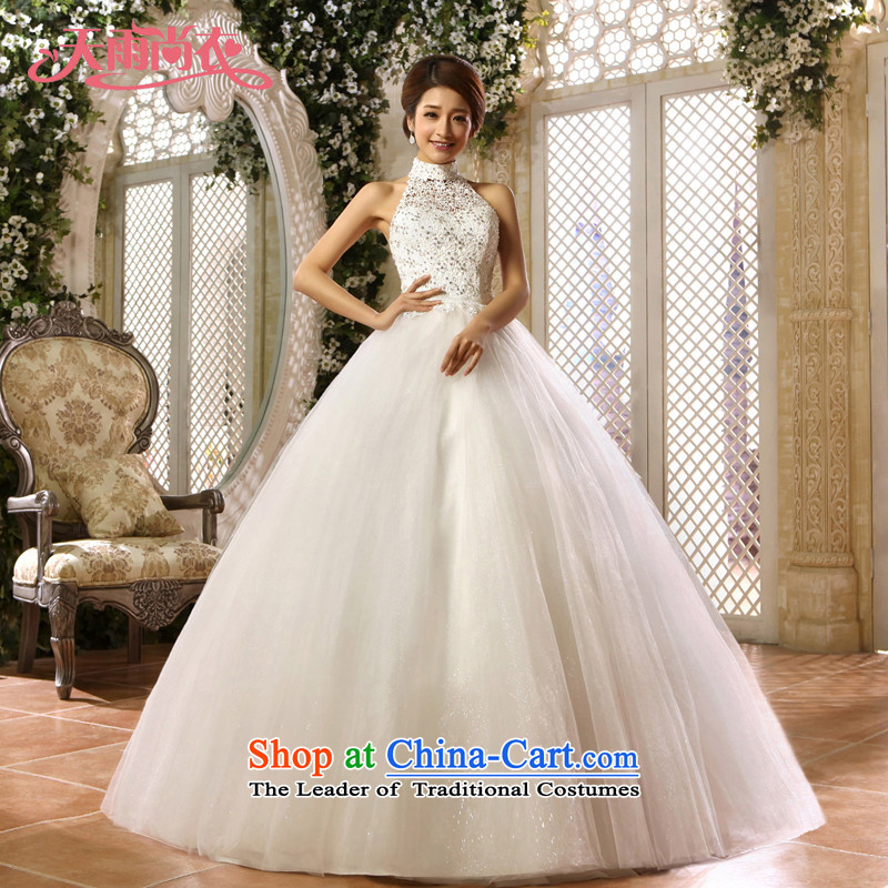 Rain-sang yi wedding dresses 2015 new lace hangs also align the princess of marriage to bind with staples, Pearl White gauze HS909 White?M