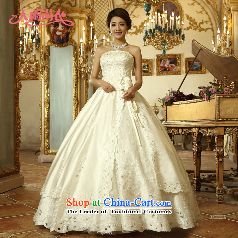 Rain-sang yi 2015 new bride wedding marriage White gauze align to bind with the Princess Royal Wedding Gown HS914 white�S