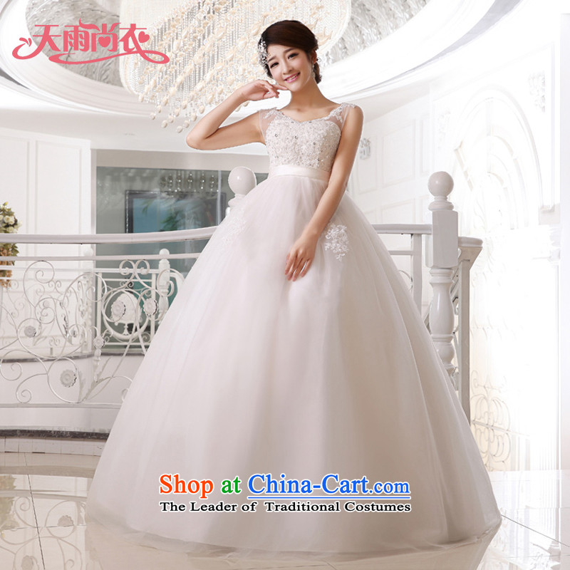 Rain-sang yi 2015 new bride Korean Top Loin of pregnant women married wedding fashion shoulders to align HS919 White?XXL