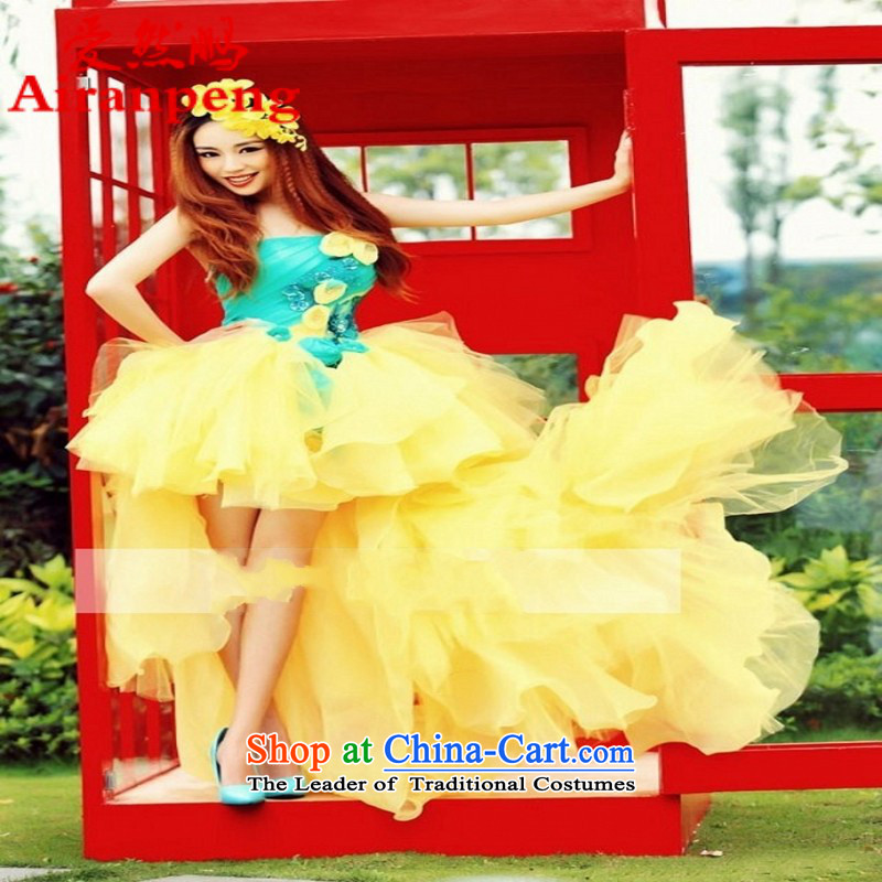 The 2014 summer new special theme for couples wedding dresses floor wedding couples theme photo clothing Yellow�XL package returning