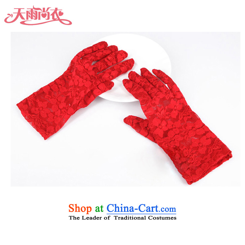 Rain Coat floor there is the bride gloves marriage wedding dresses gloves lace gloves short of�large red ST018 Gloves