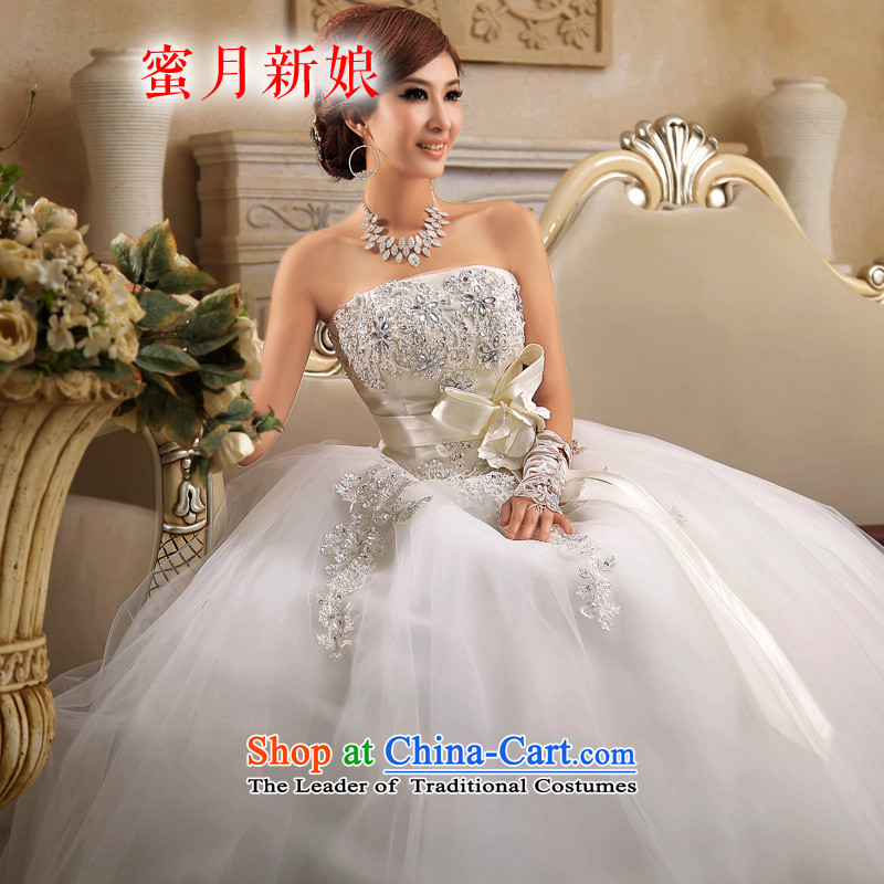 Honeymoon bride wedding dresses 2015 new Korean lace anointed chest straps to wedding marriages wedding manually diamond wedding white S