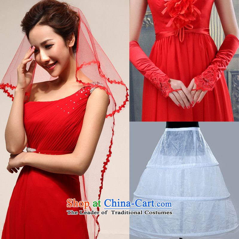 Rain-sang Yi marriages wedding dress accessories wedding accessories and glove Skirt holding�TS1+ST09+Q6�red