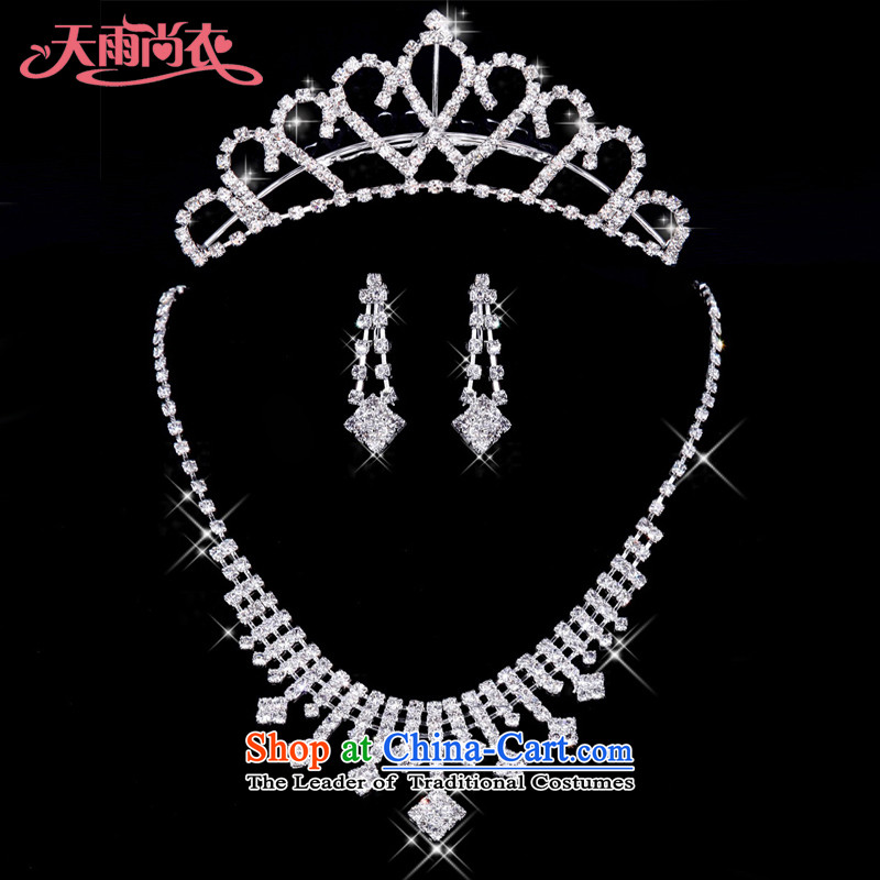 Rain-sang yi bride jewelry wedding dresses necklace with water drilling marriage necklace earrings crown kits聽XL019+HG64聽聽XL019+HG64 Kits