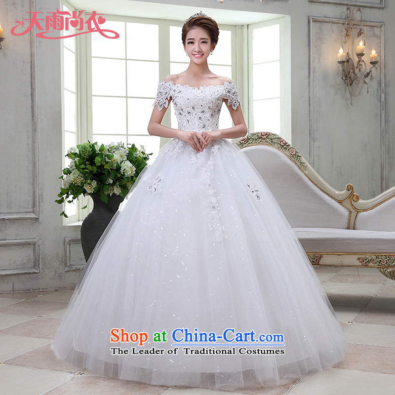 Rain-sang Yi marriages 2015 wedding dresses new sweet a shoulder straps align field to diamond strap video thin white gauze HS930 White?XXL
