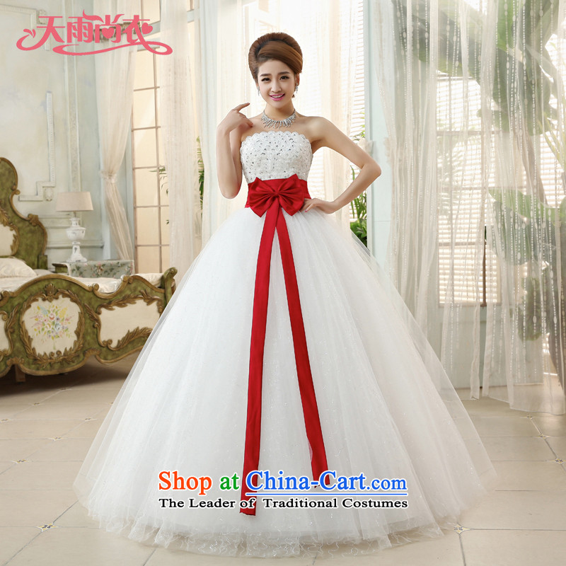 Rain-sang Yi New Sweet Bow Ties With 2015 chest straps to align, marriages wedding dresses HS868 white Suzhou shipment聽XXL