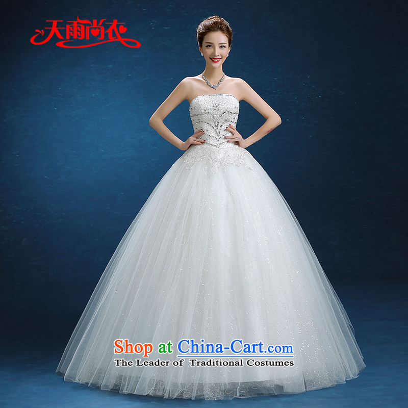 Rain-sang yi wedding dresses 2015 New Married Women Korean Princess Mary Magdalene chest to bind with Diamond White gauze聽HS870聽White聽XXL