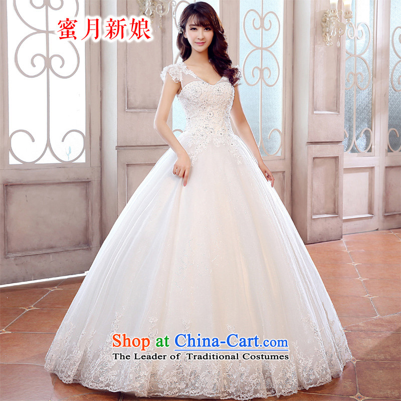 The spring of 2015, the bride honeymoon new products wedding dresses elegant package shoulder Princess Palace Korean wedding straps to align the wedding bon bon straps wedding White XL