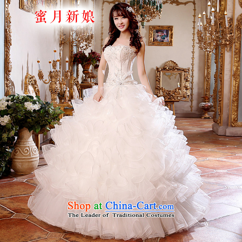 Honeymoon bride 2015 new wedding dresses lace on chip anointed chest princess bon bon skirt to align the wedding petticoats White聽XL