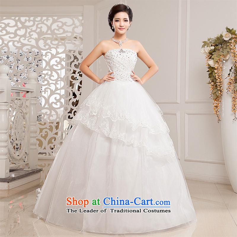 Honeymoon bride wedding dresses 2015 new Korean fashion and to align the chest wedding bon bon straps princess wedding white L