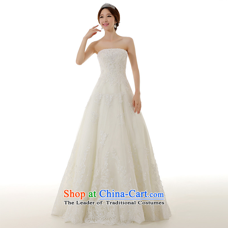 Clean the new trendy 2015 man anointed chest A skirt as to align the wedding dress retro Lace Embroidery beads manually Sau San wedding white S  pre-sale 7 day shipping