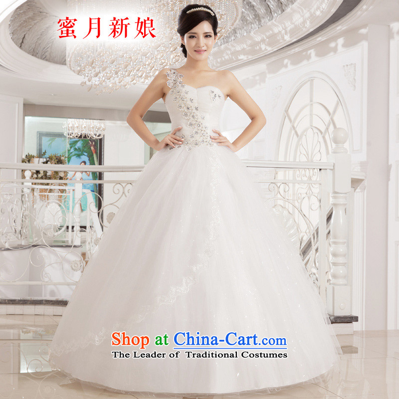 Honeymoon bride wedding dresses 2015 new Korean sweet princess shoulder diamond wedding to align the wedding bon bon straps princess wedding White M