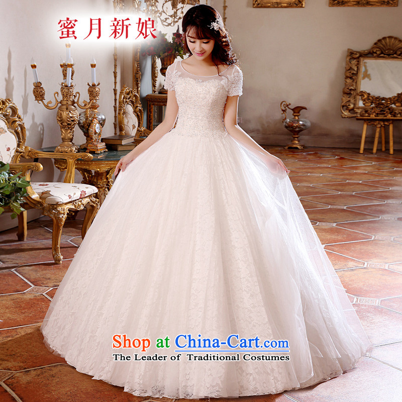 Honeymoon bride wedding spring 2015 new products wedding dresses Korean version of the new package shoulder princess bon bon wedding lace straps wedding White M