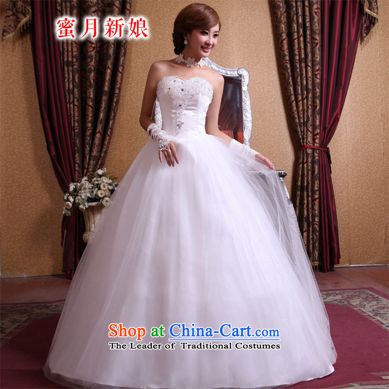 Honeymoon bride 2015 new wedding dresses Korean Korean style wedding water drilling flowers bride wedding sweet princess wedding White聽M