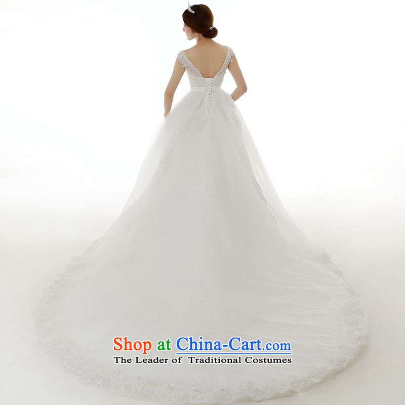 Clean the聽new 2015 Korean man Top Loin of pregnant women brides edition tail wedding word shoulder lace large tie marriages wedding dresses white streak of聽S