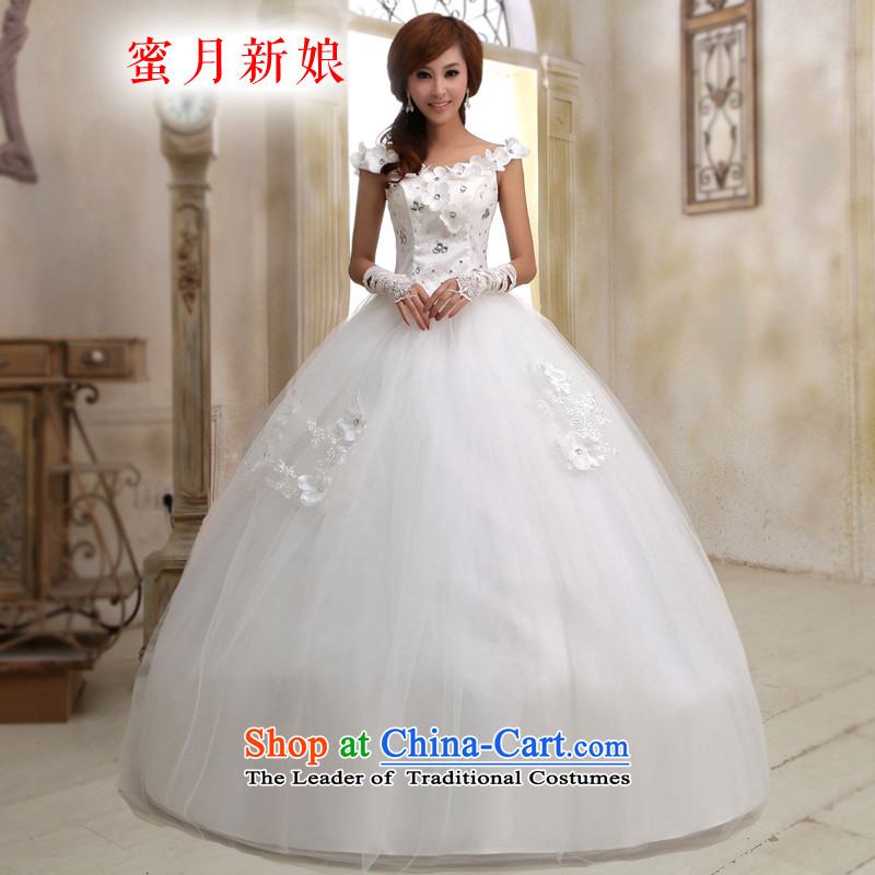 Honeymoon bride 2015 new wedding dresses water drilling flowers graphics thin wedding shoulder straps flowers sweet princess wedding White聽M