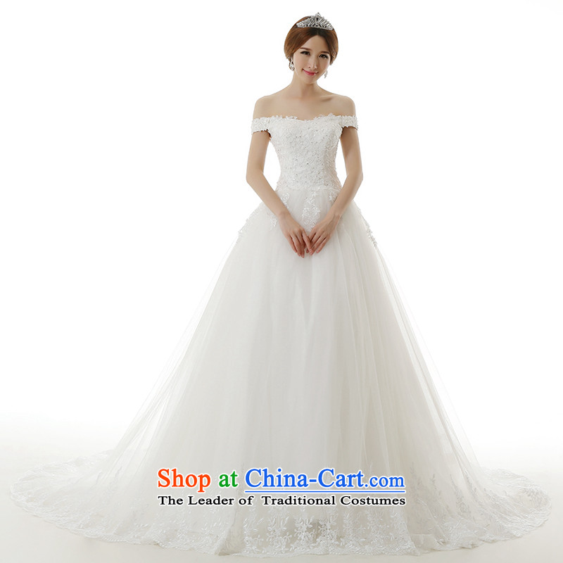 Clean the new 2015 Castores Magi retro minimalist lace trendy first field shoulder straps for maximum tail wedding video thin lace Sau San wedding dresses White�XXL
