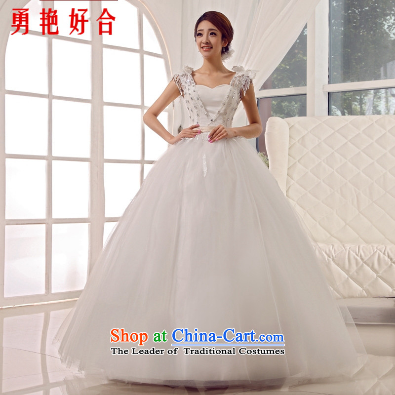 Yong-yeon close to align the new Wedding 2015 shoulders wedding dresses retro palace sweet princess shoulder straps lace edging bride wedding white聽L