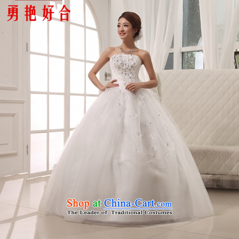 Yong-yeon and?2015 NEW Summer marriage Korean western wiping the chest to bind with the bride wedding dresses, White?M