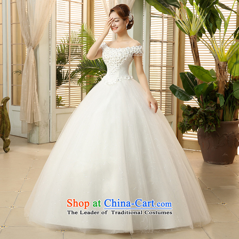 The HIV?NEW 2015 wedding dresses the word shoulder flowers diamond lace retro straps Korean sweet to align the princess yarn?H-41?white?L