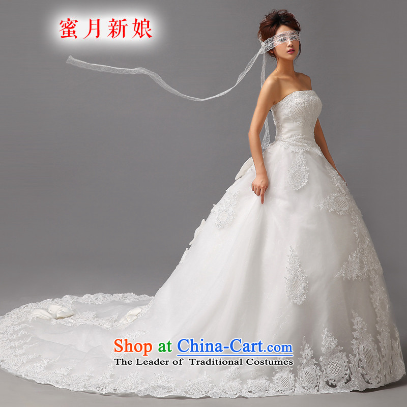 Honeymoon bride wedding dresses�2015 new Korean Princess tail wedding deluxe lace anointed chest wedding white�L