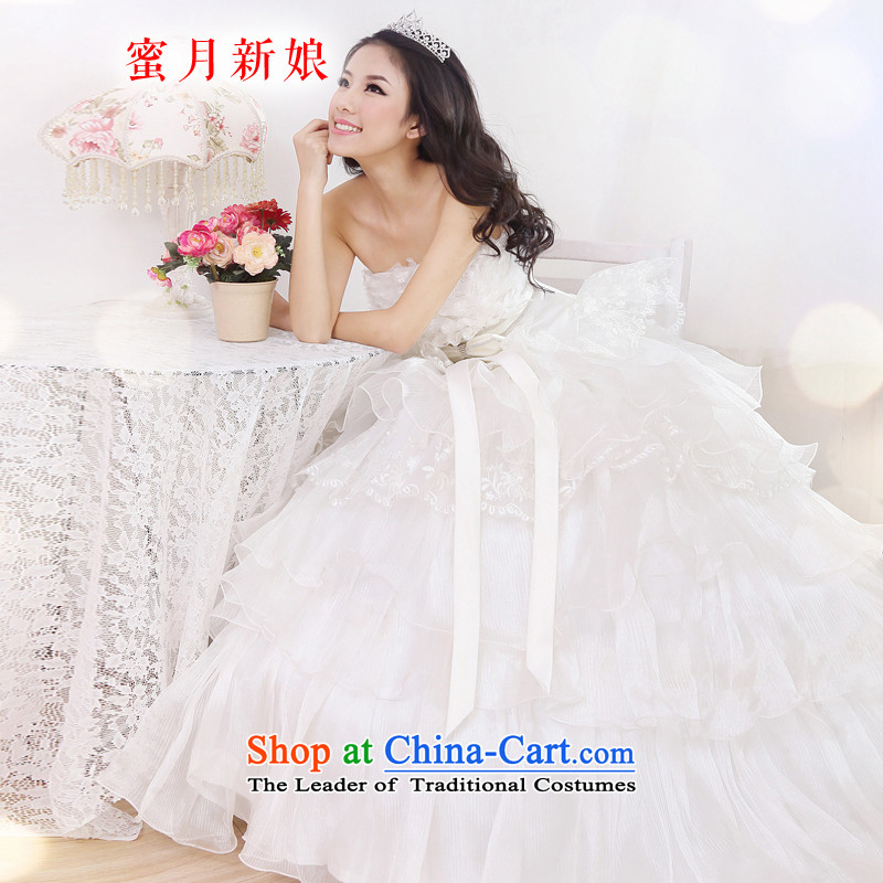 Honeymoon bride bride wedding dresses lace wiping the NEW Summer 2015 chest wedding sweet princess graphics thin wedding White聽XL