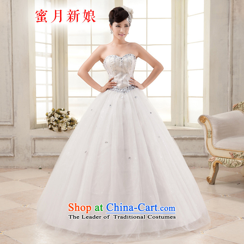 Honeymoon bride wedding dresses?2015 new Korean diamond wiping the chest straps wedding princess wedding white?L