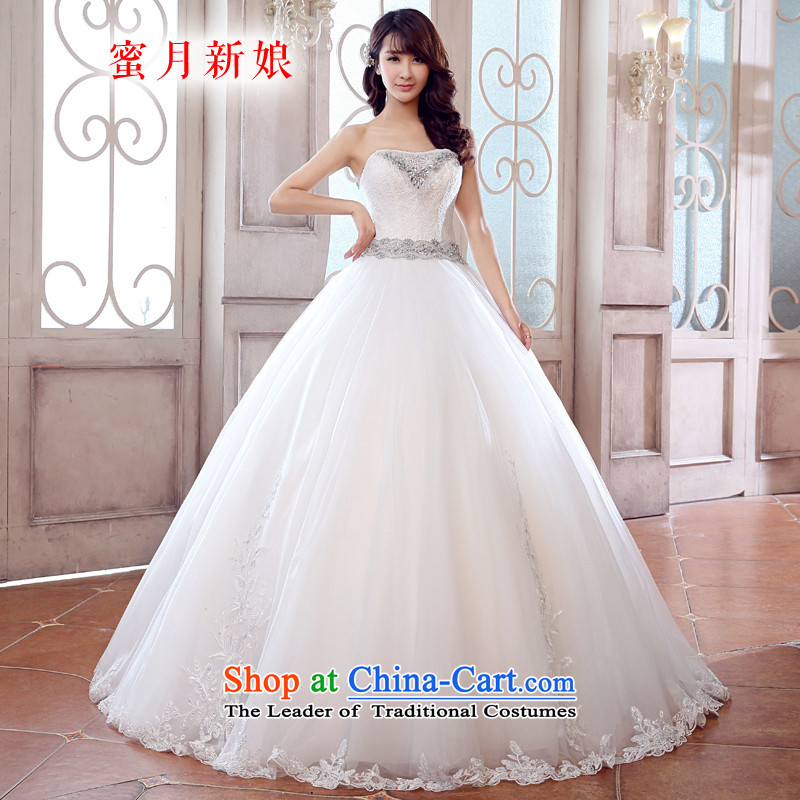 Honeymoon bride wedding dresses聽2015 new Korean anointed chest wedding sweet princess straps lace bride wedding White聽XL