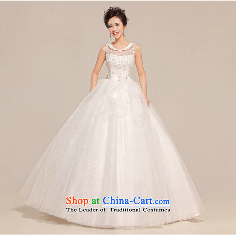 Optimize video new 2014 wedding dresses won the first field shoulder version to align the flower of the wedding dress XS712 Princess bon bon White�M
