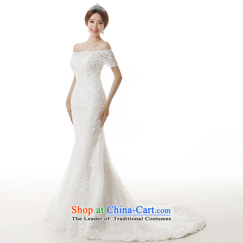 Clean the spread of autumn and winter 2015 new bride a field for the shoulder lace crowsfoot wedding dresses word elegant collar middle sleeve Sau San video thin crowsfoot large tail bridal dresses cuff?M