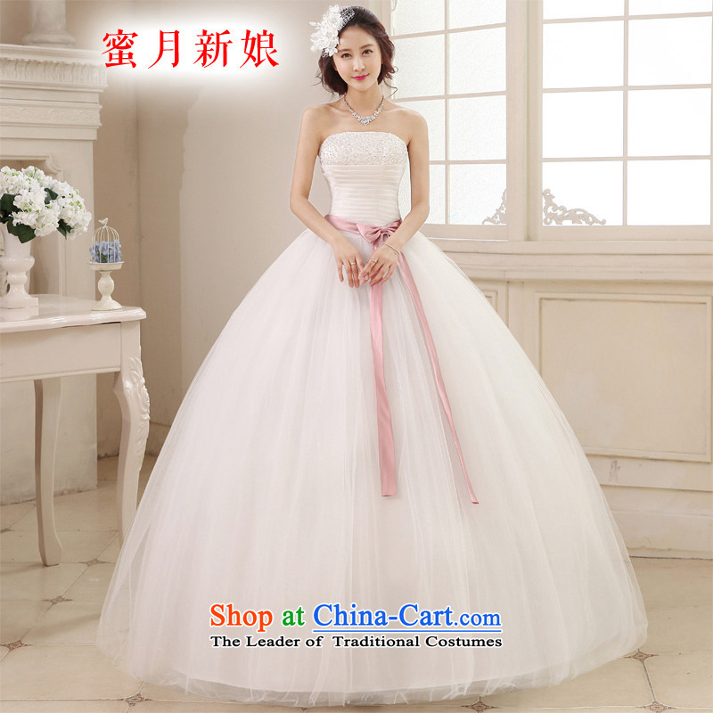 Honeymoon bride wedding dresses 2015 new Korean version on chip and wedding to align the chest straps princess wedding White XXL